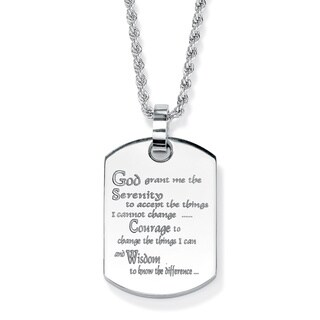 PalmBeach Stainless Steel Serenity Prayer Dog Tag Pendant Tailored