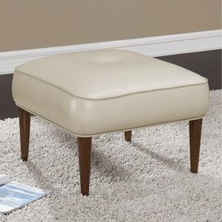Kelly 25-inch Mid Century Cream Bonded Tufted Ottoman