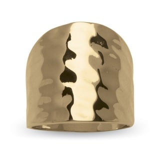 PalmBeach 14k Yellow Gold-Plated Hammered-Style Cigar Band Ring Tailored