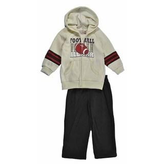 Kids Headquarters Boy's Cream Football Hoodie and Brown Sweat Pant Set