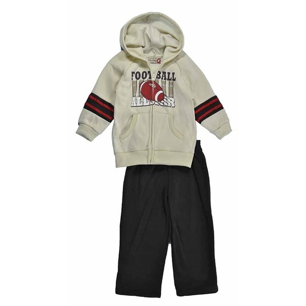 Kids Headquarters Boy's Cream Football Hoodie and Brown Sweat Pant Set
