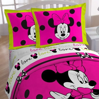 Minnie Neon Twin Bed in a Bag and Pillow Buddy 7-piece Bedding Set