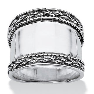 PalmBeach Sterling Silver Cigar-band Fashion Ring Tailored