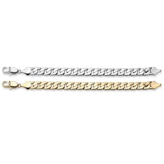 Palmbeach Goldtone and Silvertone Men's 2-piece Cuban-link Bracelet Set