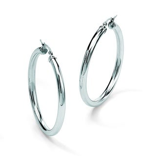 Toscana Collection Stainless Steel 2 3/4-inch Hoop Earrings
