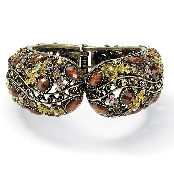 Multicolor Crystal Hinged Cuff Bracelet in Antiqued Yellow Gold Tone Bold Fashion 13285002