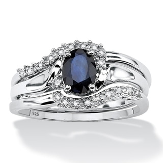 Angelina D'Andrea Platinum Over Silver Sapphire and Diamond Accent 3-piece Ring Set
