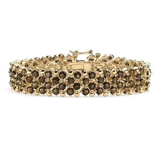 PalmBeach 20 TCW Round Smoky Quartz Tennis Bracelet in 14k Gold-Plated