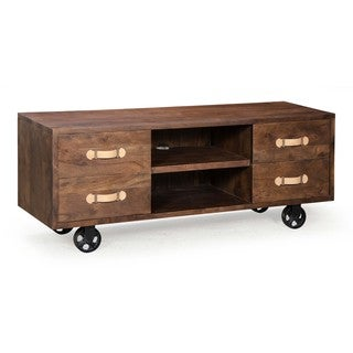 Oaktown Distressed Walnut Low Console