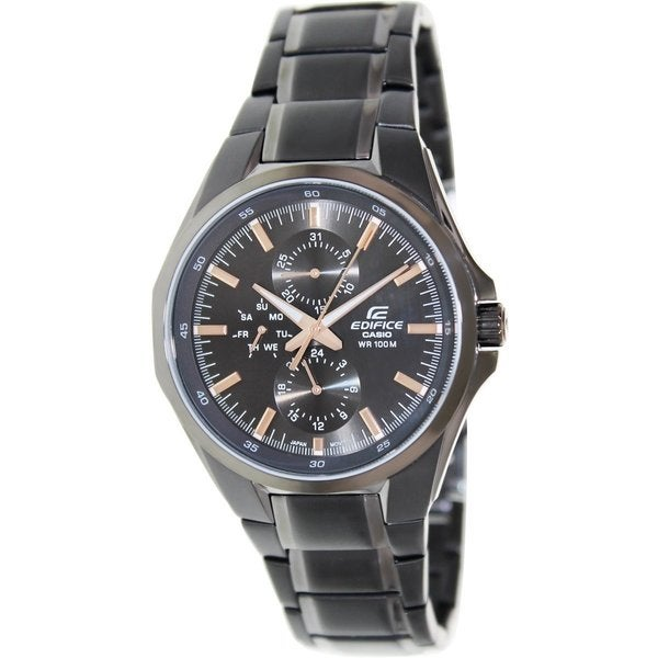 Casio Men's Edifice EF339BK-1A9V Black Stainless Steel Quartz Watch with Black Dial