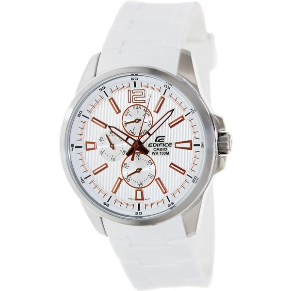 Casio Men's Edifice EF343-7AV White Resin Quartz Watch with White Dial