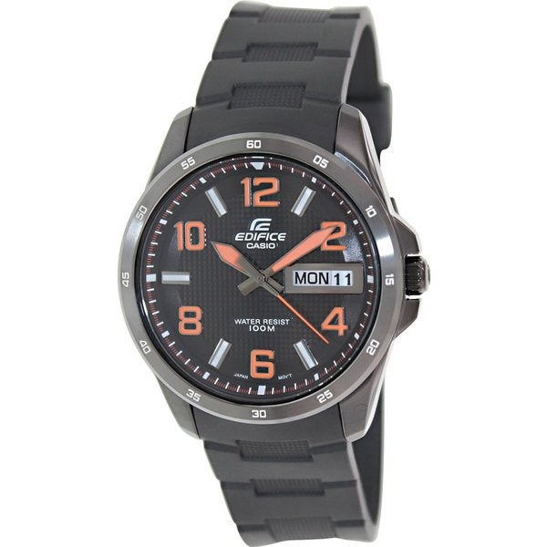 Casio Men's Edifice EF132PB-1A4V Black Rubber Analog Quartz Watch with Black Dial