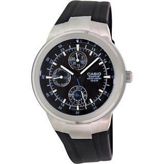 Casio Men's Edifice EF305-1AV Black Resin Analog Quartz Watch with Black Dial