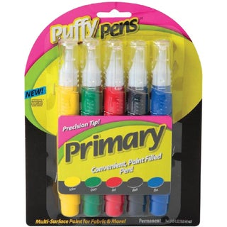 Puffy Paint Pen Set 5/Pkg-Primary