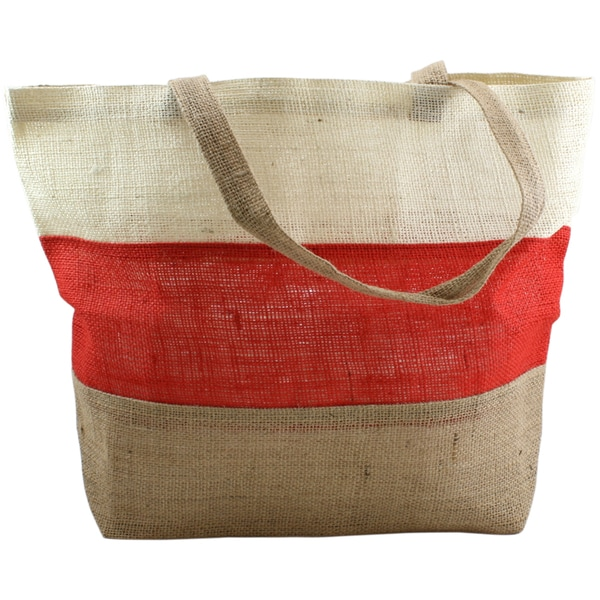 Burlap Bag 19inX14inX5.5in-Ivory, Red And Natural