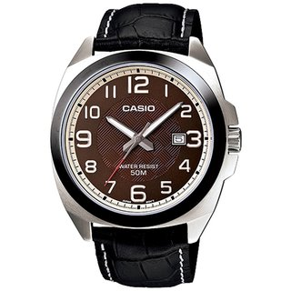 Casio Men's Core MTP1340L-5AV Black Leather Quartz Watch with Brown Dial