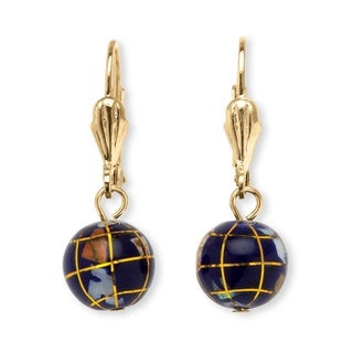 PalmBeach Goldtone Simulated Mosaic Globe Earrings Color Fun