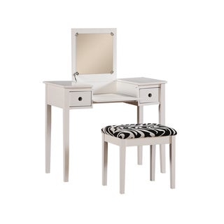 Brittany White Vanity with Matching Stool