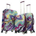 GABBIANO Purple Waves 3-piece Expandable Hardside Luggage Set
