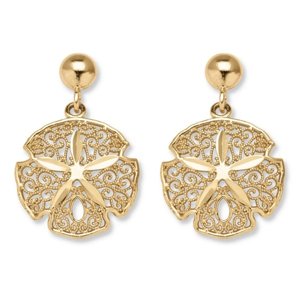 PalmBeach 10k Gold Sand Dollar Earrings Tailored