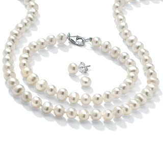 PalmBeach Sterling Silver Cultured Freshwater Pearl 3-piece Jewelry Set Naturalist
