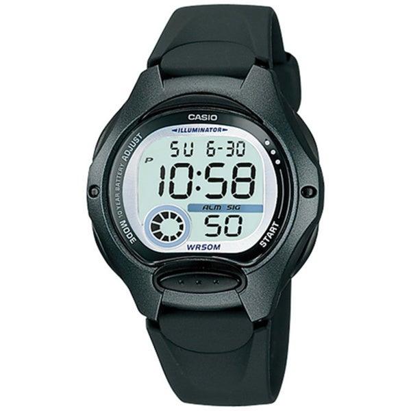 Casio Women's Core LW200-1BV Black Resin Quartz Watch with Digital Dial