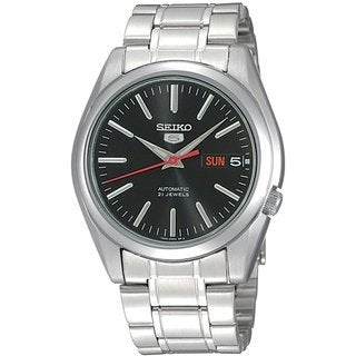 Seiko Men's 5 Automatic SNKL45K Silvertone Stainless Steel Automatic Watch with Black Dial