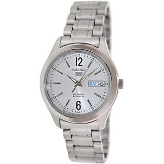 Seiko Men's 5 Automatic SNKM53K Silvertone Stainless Steel Automatic Watch with Silvertone Dial