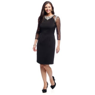 Alex Evenings Women's Illusion Sleeve Knee Length Cocktail Dress