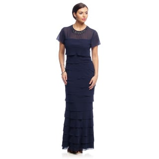 Alex Evenings Women's Mother of the Bride Long Tiered Dress with Beaded Neckline