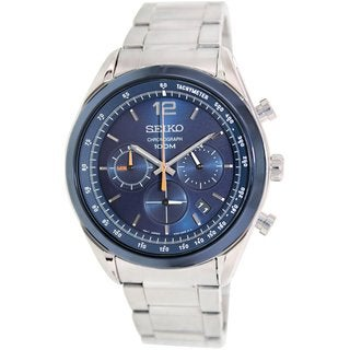 Seiko Men's SSB091 Silvertone Stainless Steel Quartz Watch with Blue Dial