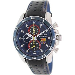 Seiko Men's Sportura SPC089 Black Leather Quartz Watch with Black Dial