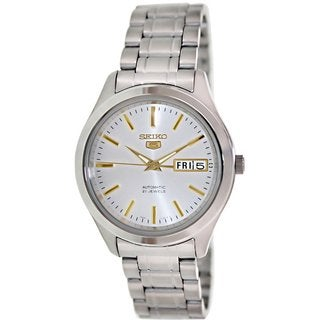Seiko Men's 5 Automatic SNKM43K Silvertone Stainless Steel Automatic Watch with Silvertone Dial