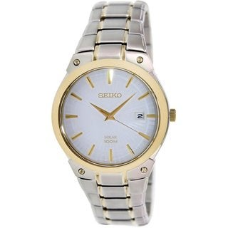 Seiko Men's Core SNE324 Silvertone Stainless Steel Quartz Watch with White Dial