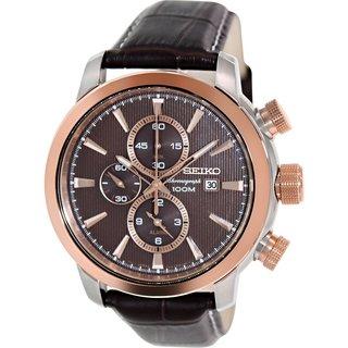 Seiko Men's Sport SNAF52 Brown Calf Skin Quartz Watch with Brown Dial