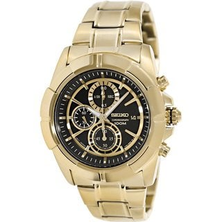 Seiko Men's SNDE74 Goldtone Stainless Steel Quartz Watch with Black Dial
