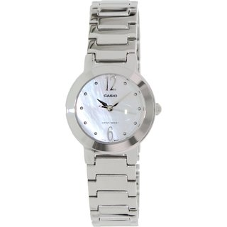 Casio Women's LTP1191A-7A Silvertone Stainless Steel Quartz Watch with Mother-Of-Pearl Dial