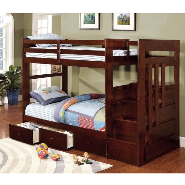 Furniture Of America Brentor Classic Dark Walnut Twin Over Twin Bunk Bed 16367925 Overstock