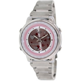 Casio Women's LAW25D-4AV Silvertone Stainless Steel Quartz Watch with Red Dial