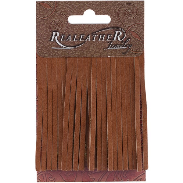 Deerskin Fringe 2inX3in 2/Pkg-Saddle Tan