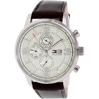 Tommy Hilfiger Men's 1710337 Brown Leather Analog Quartz Watch with Beige Dial