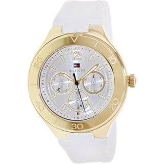 Tommy Hilfiger Women's Piper 1781329 White Silicone Analog Quartz Watch with Silvertone Dial