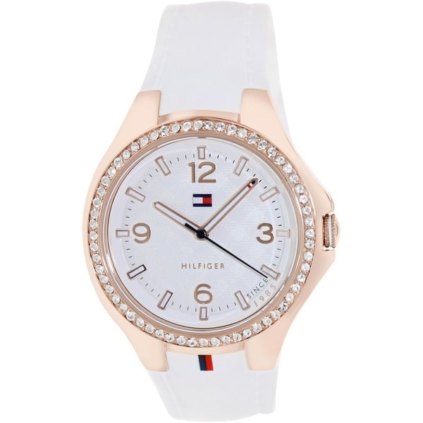 Tommy Hilfiger Women's 1781374 White Rubber Analog Quartz Watch with White Dial