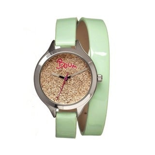 Boum Women's Confetti Gold Dial Mint Leather Strap Analog Watch