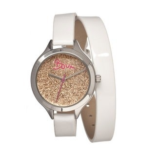 Boum Women's Confetti Gold Dial White Leather Strap Analog Watch
