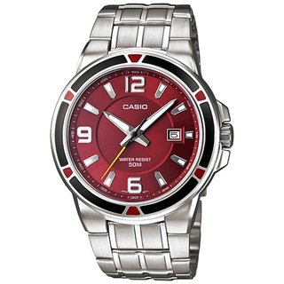 Casio Men's Core MTP1330D-5AV Silvertone Stainless Steel Quartz Watch with Red Dial