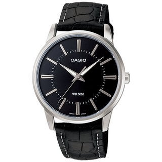 Casio Men's Core MTP1303L-1AV Black Leather Quartz Watch with Black Dial