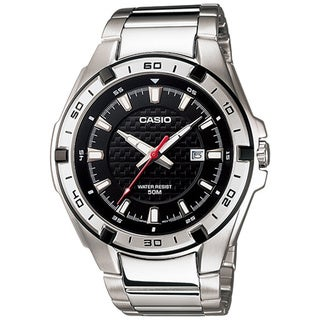 Casio Men's Core MTP1306D-1AV Silvertone Stainless Steel Quartz Watch with Black Dial