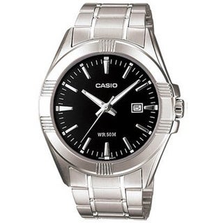 Casio Men's Core MTP1308D-1AV Silvertone Stainless Steel Quartz Watch with Black Dial