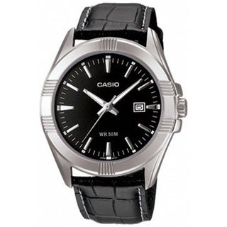 Casio Men's Core MTP1308L-1AV Black Leather Quartz Watch with Black Dial